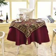 Latest 2 pcs/set Round 140cm Luxury Sequin Outdoor Table Linens Fashion Crochet Jacquard Red Wine Garden Tablecloth Decoration(China)