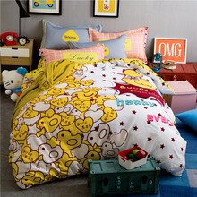 Duck anime bedding cover+bedspread vs pink pillowcase cotton bed sheet set king size queen size cartoon bedding double/twin