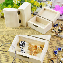 Wood Jewelry Box rectangle Shape Mud Base Art Decor Children Kid Baby DIY Wooden Crafts Toys(China)