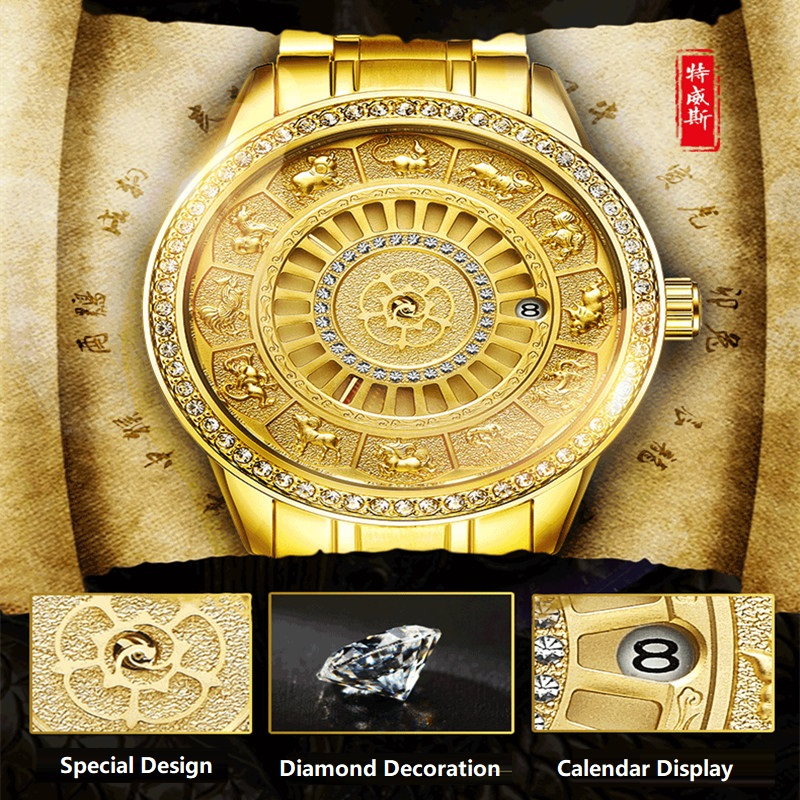 02018 New TEVISE Zodiac Signs Men Watch Automatic Mechanical Wristwatches Limited Edition Watch Men Gold Male Clock saat erkekler (5)