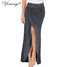 Vfemage Women 2017 Summer Sexy Frill Ruched Draped Chic Asymmetric High Waist Split Slit Casual Party Beach Maxi Long Skirt 7010(China)