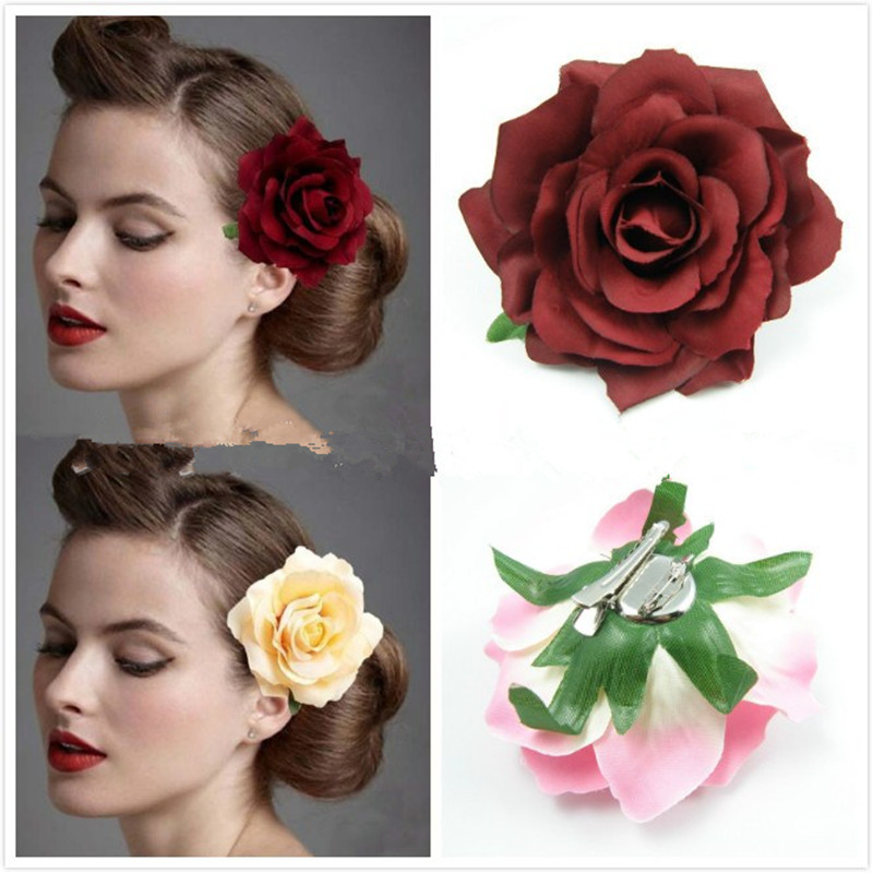 2017 Fashion Yellow Women Hairwear head Accessories decorations holiday Flower Ladies Hair Clip hairpin side clip Rose red(China)
