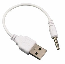 200pcs 3.5mm Male to USB 2.0 Male DATA Sync Adapter Cable for iPod Shuffle 2nd Gen mp3 mp4 phone