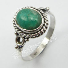 92.5%  Silver Natural AMAZONITE RING SIZE 8.5 ! Fine Jewelry Store