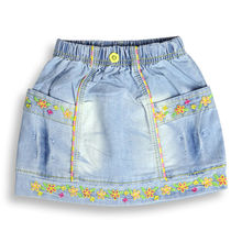 12M-4T Girl's summer Party Jeans childrens embroidery Casual A-line Above-Knee denim Jeans Skirt XML-A66113