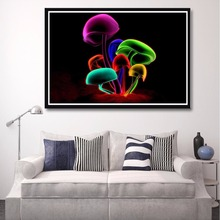 J0996- Magic Mushroom Colorful Flowers Hot Top Art Print Poster Silk Light Canvas Painting Wall Picture Room Home Decor