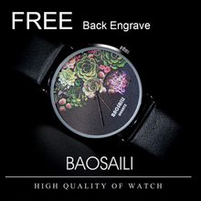 BSL1011 BAOSAILI Floral Design Black Case Japan PC21 Movt Water Resistant Life Watch Women Relogio Feminino FREE Back Engrave(China)