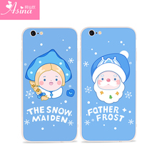 ASINA Cute Cartoon Case For iPhone 6 6S Christmas Case Cover Father Frost And Snow Maiden Hard Coque For iPhone 7 8 Plus X(China)