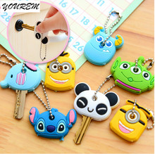 One piece Silicone Key Cover For Women Key Cap Stitch Keychain Cartoon Key Chains Cute Key Holder Gifts fj309 YOUREM(China)