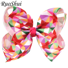 6 Inch Fashion Colorful Geometric Design Hairbow Plaid Grosgrain Ribbon Bows With Alligator Clip Hairpins Girls Hair Accessories(China)