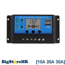PWM Solar Charge Controller 10A 20A 30A Regulator 12V 24V Auto Big Display with Dual USB 5V for Home PV System Lighting 2017 NEW