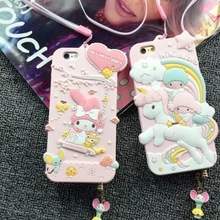 HOT High Quality Lovely 3D Little Twin Stars My Melody women Soft Rubber phone case cover Dust plug Strap for iPhone 6 Plus 5.5""