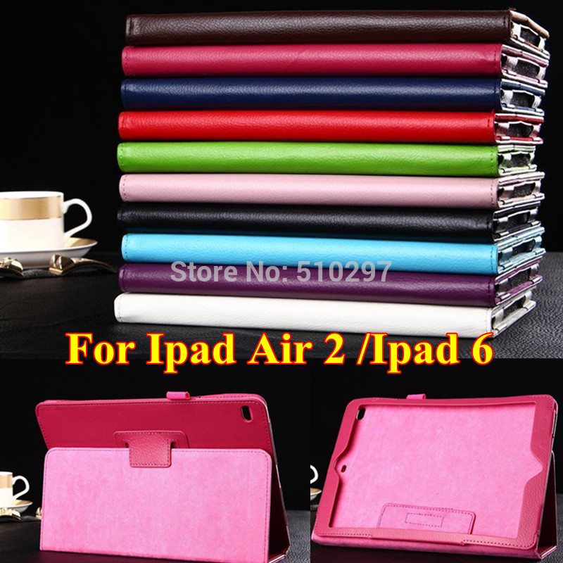 Wholesale  Case For Ipad air 2 Ipad6  Litchi Style PU Leather  Stand cover Case For Apple ipad air2  ipad 6<br><br>Aliexpress