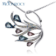 MOONROCY Free Shipping Rose gold Color Silver Color Fashion Crystal Necklace Bohemia Swan Jewelry long chain Necklace for women