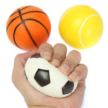 Soft Foam Ball Wrist Exercise Stress Relief Squeeze Tennis Ball/Basketball/Football Gift Toy Fitness Balls 6CM Diameter