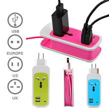 Go2linK 3 in 1 EU Plug 2 Ports AC Power Strip Travel USB Charger Home Wall Charger Adapter Outlet USB Slots Hub Desktop