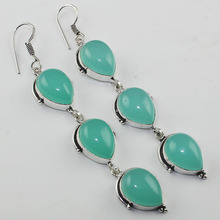 Chalcedony   Earrings  Silver Overlay over Copper , 94 mm, E00801