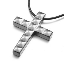 Men Jewelry Leather Tungsten Pendant Necklace Gothic Black Silver Cross Vintage Polished 22 inch Chain free shipping