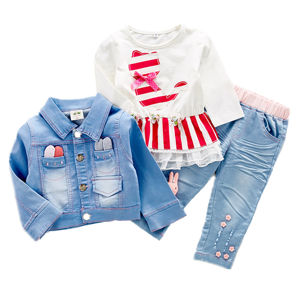 6-24 M 3 Pieces Sets Baby Girls Clothing Sets Spring Autumn Kids Outfits Clothes Cotton T Shirt +Jeans Pants+Jeans Jackets<br>