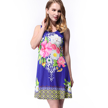 Ruiyige 2017 Summer Dress Floral Flowers Print Sleeveless Mini Shift Dress Elegant Round Neck Milk Silk Women Dresses Vestidos