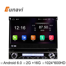 Eunavi  7 inch 1 din car dvd Player Android 6.0 Motorized Detachable 1080P Video HD Multi-Touch Screen automotivo car stereo