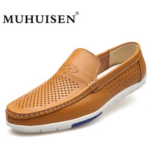 Buy MUHUISEN Men Loafers Summer Casual Boat Shoes Fashion Genuine Leather Slip Driving Shoes Hollow Flats Breathable Shoes for $27.39 in AliExpress store