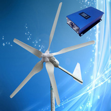 1KW 48V Wind Turbine, 1KW Wind Turbine Generator 5PCS Blades with Tail Turned Brake Protection + 2KW 48V Grid Tie Wind Inverter(China)