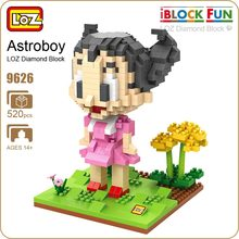 LOZ Bricks Construction Astroboy Sister Uran Figure Anime Plastic Blocks Toys Hobbies Astro Boy Girl Doll Assembly Model 9626