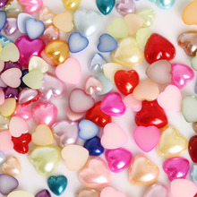 New 3/4/6/8/10/12mm Flatback Half Heart Shape Plastic ABS Imitation Pearl Beads for DIY Jewelry Craft Scrapbook Decoration