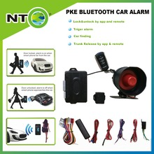 PKE Bluetooth car alarm system with two remotes lock and unlock car finding trigger alarm trunk release by app and remote(China)
