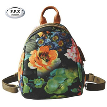 New European Fashion Women Bags Floral Female Shell Bags Original Printed Graffiti Lady Backpacks Brand Double Shoulder Bag A812(China)