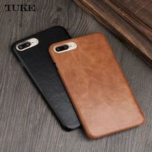 TUKE for Apple iPhone 7 Case Cover Cow Genuine Leather Luxury Matte Hard Phone Cases for iPhone7 4.7 inch Slim Back Cover Funda(China)