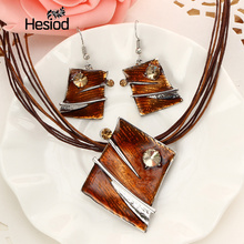 Hesiod 2017 Fashion Brown Red Enamel Jewelry Sets Geometric Unique Pendant Earrings High Quality Fsahion Set Christmas Gifts For