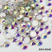 Super Shiny Rhinestones SS3-SS40 Clear Crystal AB color 3D Non Hot Fix Flat Back Nail Art Decorations Flatback Glass Stone