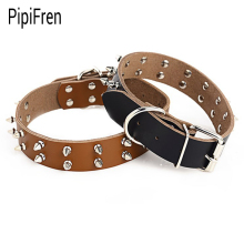 PipiFren Genuine leather Spiked Big Dogs Collars Rivet Supplies Accessories For Large Dog Necklace Pets Collar collier chien(China)
