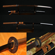 Damascus Folded Black&Red Japanese Samurai KATANA FULL TANG Sword Oil Quenched BLADE SHARP CAN CUT BAMBOOS HAND MADE CUSTOM