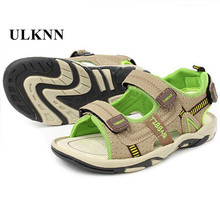 Children Beach Shoes Summer New Kids Sandals Leather Wear Baby Casual Flat Shoes Top Boy Shoe Tide Hook & Loop Men 3 Colors Size(China)
