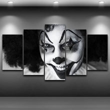 Smiling Clown Framed wall art picture Artistic Printed Drawing on Canvas Printed Home Decor Spray Oil Painting Decoration AE0848(China)
