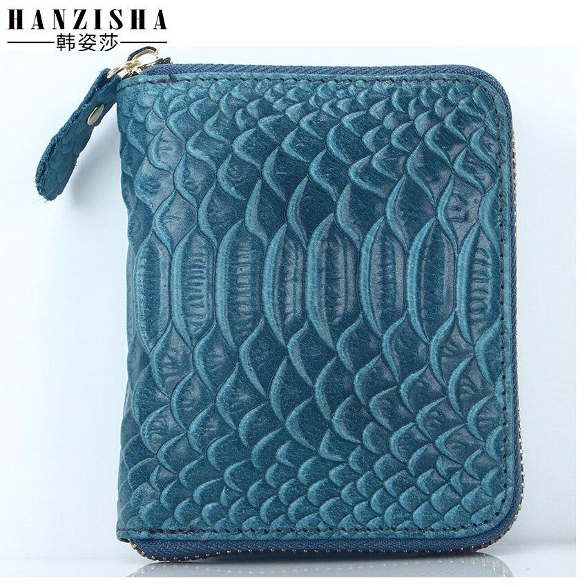 2017 New Brand Women Wallet Genuine Leather Snake Pattern Short Wallet Leather Women Coin Purse Zipper Women Card Holder Bag<br>