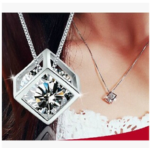 2017 New Crystal Magic Love Square Pendant   silver  Pendant Accessories for women necklace