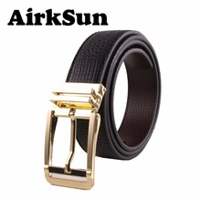 AirkSun 2017 New fashion black Crocodile genuine leather with gold silver pin buckle designer belts for men jeans luxury 125cm