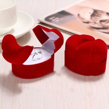 1 pcs Hot sale Exquisite Velvet Red Double-faced Jewelry Gift Box Wedding Party Ring Display Case New