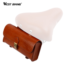 WEST BIKING Bicycle Saddle Bag Cycling Storage Vintage Bag PU leather Bike Rear Pannier Brown Bike Bicycle Back Seat Saddle Bag(China)