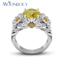 MOONROCY Drop Shipping Cubic Zirconia Jewelry Wholesale Chrysanthemum Silver Color Crystal Ring for Women Girls Party Gift(China)