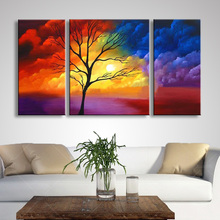 Hand Painted Abstract Oil Painting Home Decor Wall Art Modern Colorful Clouds & Tree Landscape Paintings 3 Panel Pictures Sets