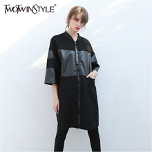 TWOTWINSTYLE Black PU Leather Trench Coat Female Long Sleeve Women's Windbreaker Cardigan Overcoat Big Sizes Casual Clothes 2017(China)