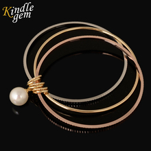 Fashion Luxury Jewelry Rose Gold Silver Color Simulated Pearl Bangles& Bracelets Jewelry Women Love 3PCS Dubai Bijoux