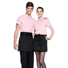 Hot sale fashion cafe tea shop coverall waiter uniform bust apron waist cooking aprons men and women