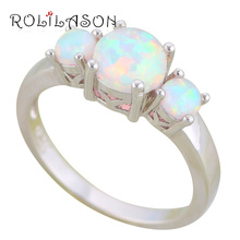 ROLILASON Stylish Round Design White Fire Opal 925 Silver Rings USA Size #5#6#7#8#9#10 Fashion Jewelry for Women OR855