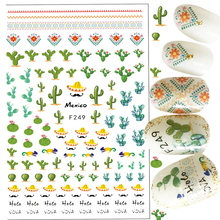 1 Sheets Dessert Pattern Cactus Adhesive Foil Nail Art Decorations Tool Water Decals 3d Design Nail Sticker Makeup Beauty TRF249